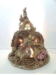 Www.ceramiccrafts.com  Pixie house lamp by Sallyamoss