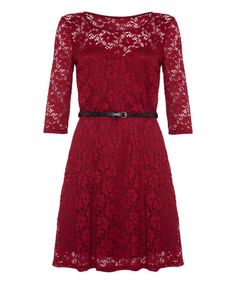 Love this Burgundy Belted Lace A-Line Dress on #zulily! #zulilyfinds