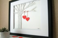 Put the lyrics from your first dance or your vows on paper, cut it out in the shape of a tree and have your initials hanging from hearts on a branch.  sallywilsonshops:
