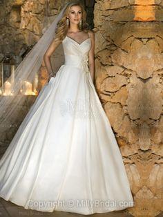 BallGown Spaghetti Straps Satin Sweep Train Flowers White Wedding Dresses ( MLD00016218 )  Milly price: 146.00Market Price: £292.00
