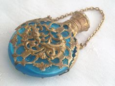 ANTIQUE TURQUOISE GLASS GILT ORMOLU CHATELAINE PERFUME SCENT BOTTLE C1880