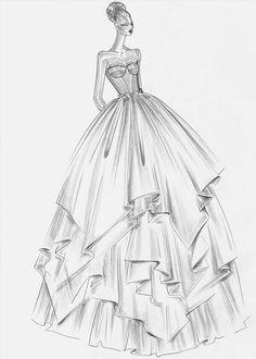 design Rosa Clará – empresaria y diseñadora Erstaunliche Skizze eines der spektakulärsten Kleider von Rosa Clara Dress Design Drawing, Dress Design Sketches, Fashion Design Sketchbook, Dress Drawing, Fashion Design Drawings, Fashion Sketches, Fashion Painting, Fashion Art, Fashion Models