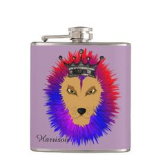 A fabulous illustration of a lion; king of the jungle with a big hairy main in bright colors of purple, blue, pinky orange and topped with a silver crown.