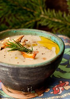 Creamy chanterelle soup with cognac. Adapted from Williams-Sonoma
