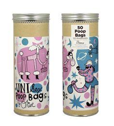 Killer Retro Dog Poop Bag Packaging Design. Am digging these illustrations. (Olive Poop Bags)