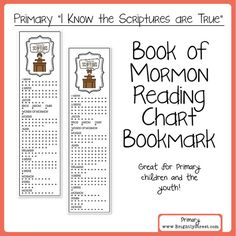 LDS Primary 2016 theme I know the Scriptures are True Book of Mormon Reading Chart Bookmark. Great for Primary and Youth or the entire family!! BrightlyStreet