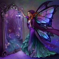 Mirror, Mirror, ..... Fairy Art, Dark Fairies, Fantasy Fairies, Angels And Fairies, Fantasy Art, Mythical Creatures, Mystical Creatures Drawings, Fantasy Creatures, Mythological Creatures