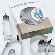 With A Spin brand premium stainless steel cookie cutter set. The elegant and beautifully packaged set includes four iconic shape cookie cutters perfect for kids and adults. These Islamic shape cookie