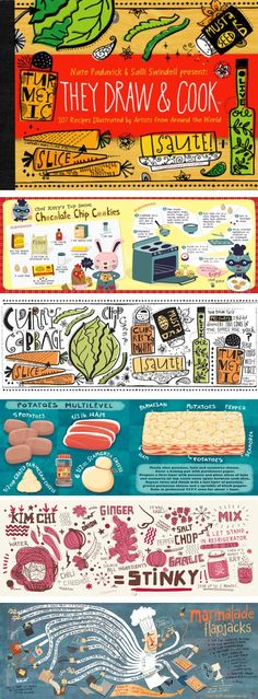 Graphic design- They Draw and Cook is a site on which illustrated recipes (or recipes as illustrations) are posted on a regular basis. ***this would be great with our Search for Delicious unit. Fun Cooking, Cooking Recipes, Cooking Cake, Cooking School, Cooking Videos, Cooking Tools, Rice Recipes, Cookbook Design, Kids Cookbook