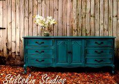 Vibrant Turquoise Blue French Dresser Shabby Paris Apartment       Stiltskin Studios via Etsy
