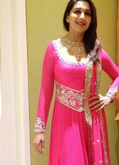 Madhuri Dixit Style Pink Heavy Embroidery Work Floor Length Anarkali Suit