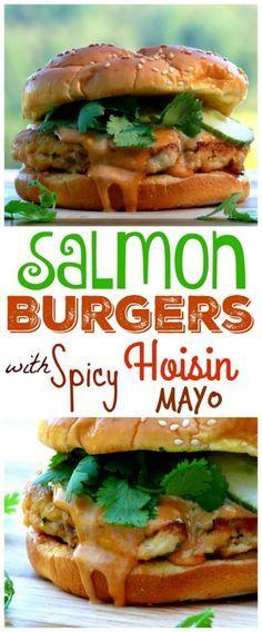 Salmon Burgers with Spicy Hoisin Mayo