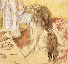 Edgar Degas | Woman Brushing Her Hair - Edgar Degas - WikiPaintings.org