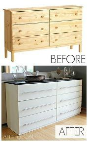 ikea tarva dresser transformed into a kitchen sideboard, kitchen design, painted furniture, repurposing upcycling, Most people these days think of that distressed crackled furniture finish when you think of working with milk paint but did you know it can produce a strong smooth factory like finish when applied to raw wood