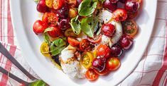 This take on caprese salad includes the unlikely but delicious pairing of sweet and tart cherries with mini heirloom tomatoes by Kate Ramos of @holajalapeno for Better Homes and Gardens July 2020 issue. #cherries #cherryrecipes #salad #caprese