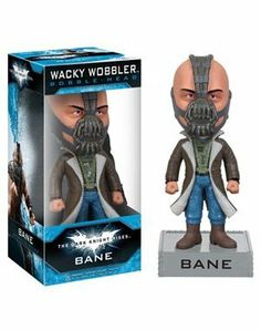 "Funko DC Comics: Dark Knight Rises Movie Bane Wacky Wobbler by Funko. $11.99. 7"" bobble head. Likeness of Tom Hardy. Collect them all. From the Manufacturer                Terrorist leader Bane is back in Gothem city for this 2012 movie release.                                    Product Description                While Tom Hardy's portrayal of Bane in Christopher Nolan's The Dark Knight Rises has been the subject of much controversy and debate, there's no arguing just how aweso..."