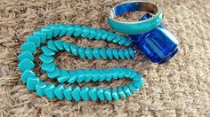 Check out this item in my Etsy shop https://www.etsy.com/listing/230306806/vintage-turquoise-jewelry-set-1980s-teal