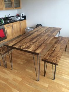 A stunning wooden desk/table made from reclaimed scaffolding boards the top has . - # A stunning wooden desk/table made from reclaimed scaffolding boards the top has . Wooden Dining Tables, Wooden Desk, Wooden Kitchen, Dining Room Sets, Dining Table Chairs, Table Desk, Reclaimed Wood Dining Table, Plank Table, Garden Table And Chairs