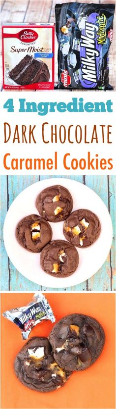 Cake Mix Cookies Recipes!  Easy Dark Chocolate Caramel Cookies filled with ooey gooey Milky Way candies are the BEST way to satisfy those cookie monster cravings! Just 4 ingredients!