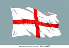 Vector waving national country flag ribbon England Saint George's Cross english - stock vector