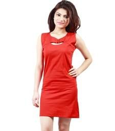 Buy Red plain cotton dress western-wear online