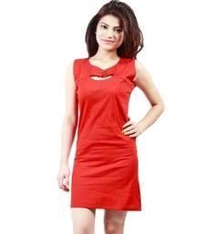 Buy Red plain cotton dress western-wear online
