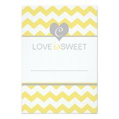 Yellow Gray Chevron Wedding Dessert Buffet Cards Custom Invite
