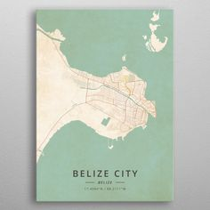 Belize City Belize by DesignerMap Art Wall Art Prints, Poster Prints, Canvas Prints, Belize City, Print Artist, Map Art, Cool Artwork, Vintage Posters, Canvas Art