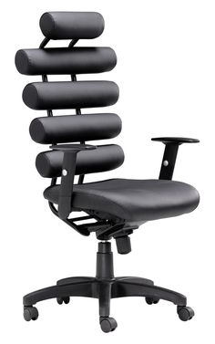 Unico Office Chair in Black Leatherette & Painted Metal