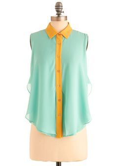 In Summery Top - Mid-length, Blue, Yellow, Color Block, Buttons, Ruffles, Work, Sleeveless, Spring