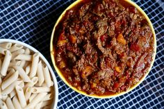 This recipe is a midweek staple, and so easy to whip up and chuck in the  slow cooker before work. Fast forward through the working day and you'll  walk through the door to rich ragu yumminess. We use beef brisket, or other  slow cooking cheaper beef cuts like shin or cheek, plus added flavour from  porcini mushrooms to make the thick, stew-like ragu sauce that is the next  level from your standard minced beef ragu. We serve with gluten free brown  rice pasta, spiralized courgetti, or sweet…