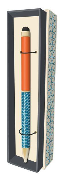 Orla Kiely Linear Stem Marine Ballpoint Pen with Stylus Tip