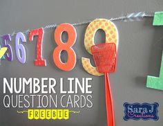 Number line whack is a fun way to practice number identification.  Also includes FREE clue cards to practice next, before, after, in between with numbers 1-10