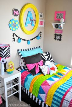 Colorful Little Girls Bedroom #kidsbedrooms #girlsbedrooms Girl Bedroom Designs, Girls Bedroom Colors, Little Girl Bedrooms, Big Girl Rooms, Colorful Girls Room, Teen Bedroom, Dream Bedroom, Bedroom Decor, Bedroom Ideas