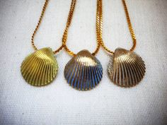 Seashell Pendant Necklaces  Set of 3 Vintage by lettylapin on Etsy, $13.25
