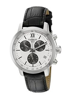 Tissot Mens T0554171603800 Prc 200 Silver Dial Black Leather Strap Chronograph Swiss Quartz Watch -- Details can be found by clicking on the image.
