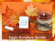 Christian Thanksgiving Party Favors- Egglo Scripture Scrolls are a super fun way for kids to be thankful for Jesus. Kids LOVE to unroll these cute little scrolls to reveal secret Scripture messages. They're perfect for holidays and family fun at the dinner table or Christ-centered stocking stuffers. Adorable scrolls make fun gifts, lunchbox surprises, Sunday school prizes or craft accessories. Help your children hide God's word in their heart. egglo.com