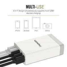 [Qualcomm Certified] MoKo Quick Charge 2.0 40W 5-Port USB Wall Fast Charger (Quick Charge 5V/2.4A 9V/2A 12V/1.5A, Smart Charger 5V/2.4A), for Samsung Galaxy S7, S7 Edge, S6, S6 Edge, WHITE | USB Charging Stations