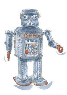 Richard Maris' fab robot illustrations.. inspired by his friends #elds #coolprints #eastlondondesignstore www.eastlondondesignstore.com