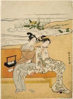 Playing the Flute, Suzuki Harunobu, ukiyo-e