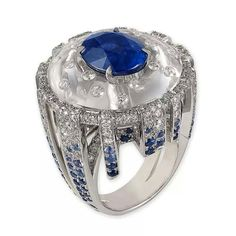 Lorenz Baumer's Trevi ring features a 7.54ct. sapphire set into rock crystal, accentuated with diamonds and sapphires.