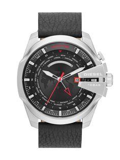 Diesel DZ4320 Men's Mega Chief Black Leather Strap Watch