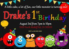 Little Monster Birthday Party Invite DIY by M2MPartyDesigns