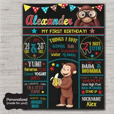 Curious George Birthday Sign,Curious George Chalkboard Sign,Any Size,Personalized birthday sign,First Birthday,Birthday party sign,DPP81