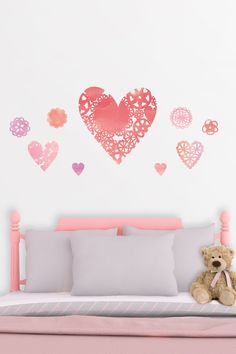 @marthastewart Doily Heart decals are perfect for Valentine's Day or any other celebration. Each heart features intricate patterns with a watercolor effect. The hearts are separate so they can be placed together or apart. SHOP rub on transfer wall art decor at  http://www.fathead.com/martha-stewart/msl-seasonal/doily-hearts-wall-decal/ | Fathead Wall Graphics | Family | Office | Home Decor On A Budget