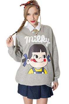 Milky Girl Printing Sweatshirt