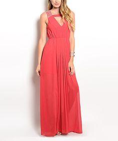 Look at this #zulilyfind! Rust V-Neck Keyhole Back Dress #zulilyfinds