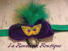 Shabby Chic Mardi Gras Headband by LaBandeauxBowtique on Etsy, $8.00