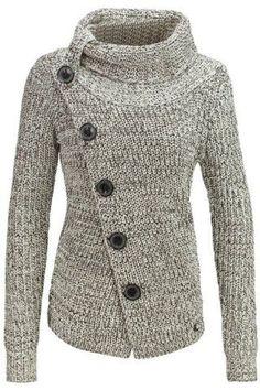 Botón Diseño JacketJackets de las mujeres hizo punto elegante del cuello alto de manga larga | RoseGal.com por pearlie