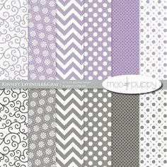 Kinsley Lavender&Gray - Digital Scrapbook Paper Pack -- INSTANT DOWNLOAD
